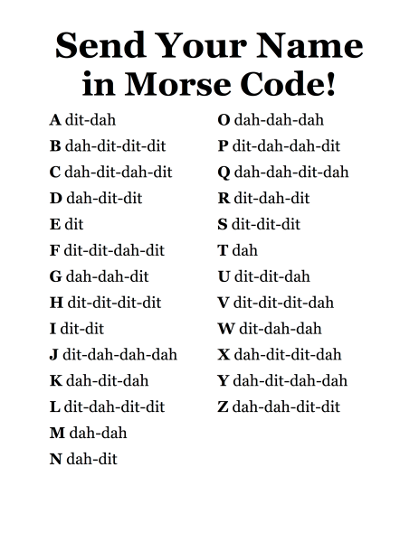 Send your name in morse code