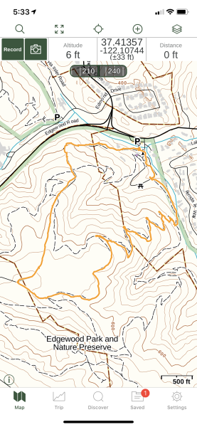 Edgewood Park GPS track